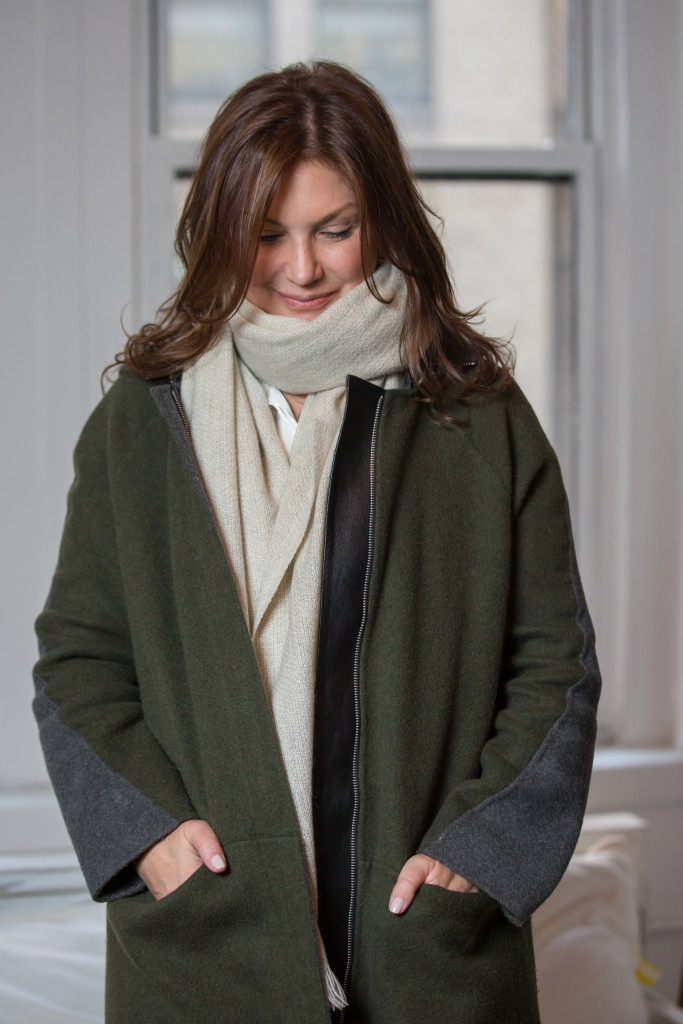 Jill Heller of PureThread wearing coat by M. Patmos, scarf by Norlha
